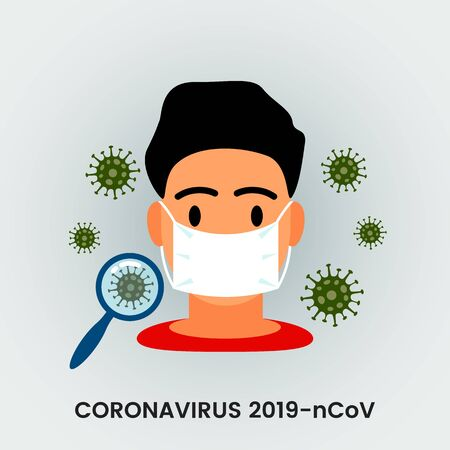 A Chinese man dressed in a disposable medical mask as protection against coronavirus and pneumonia in China. Virus 2019-nCoV.