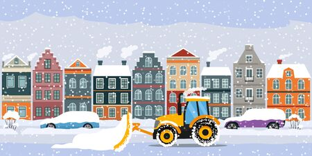 A tractor cleans the road in the city after heavy snow and hail. parked cars on the street in snowdrifts and snow. flat vector illustration