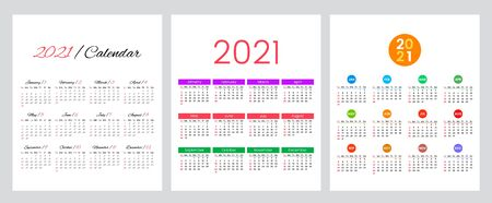 Set of three calendars 2012 year. simple calendar grid. The week starts on Sunday. flat vector illustration isolated on white background