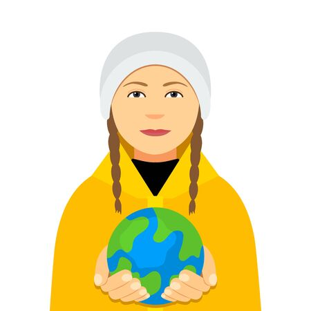 Kiev, Ukraine February 4, 2020: Greta Thunberg in a yellow cloak holds the planet Earth in her hands.