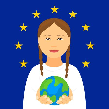 Kiev, Ukraine February 4, 2020: Greta Tunberg on the background of the flag of the European Union holds the planet Earth in his hands. Environmental activist against global warming. Single picket. vector illustration 向量圖像