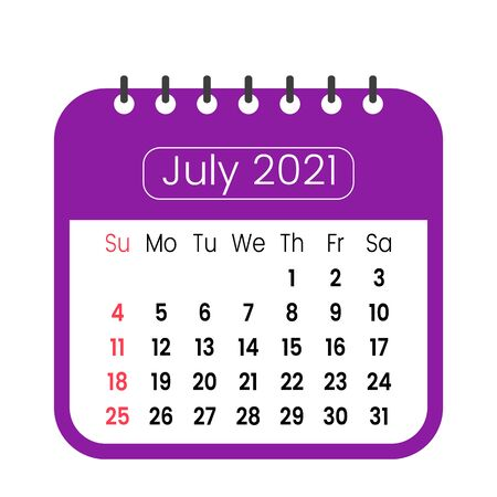 monthly calendar template for new 2021 year. July is the month. week starts from sunday. Illustration