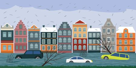 Cars submerged from a storm in Europe. Torrential rains from Hurricane Sabina and Ciara caused many flooded areas in cities. vector illustration Ilustração