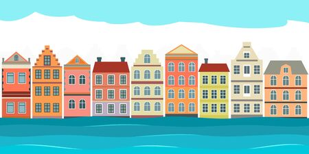 The city of Venice in Italy is surrounded by the waters of the Adriatic Sea. old vintage houses on the street in a cartoon style. flat vector illustration Ilustracja