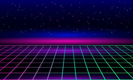Retro vintage neon grid horizon of the 80s and 90s. Banner for printing night disco parties. web template. Vector illustration. Retrowave and synthwave