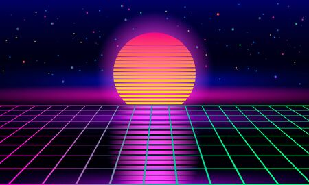 Retro sci-fi background of the 80s and 90s with sunrise or sunset retro sun. Futuristic synthesizer retro wave. vector vintage illustration. disco dance floor Stock Illustratie
