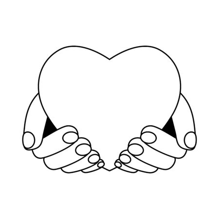 heart in the hands of man. Concept of love and giving tuesday. Element for Valentines Day