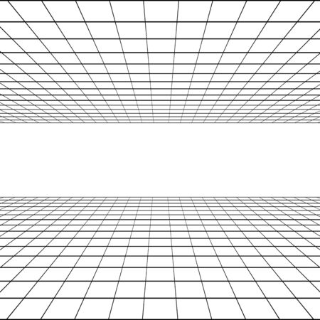 Perspective graphic grid in linear style. Black silhouette on a white background. flat vector illustration
