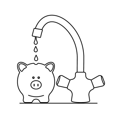 A water faucet punishes drop by drop in a realistic pig piggy bank. The concept of savings, pensions and passive income in cryptocurrency.