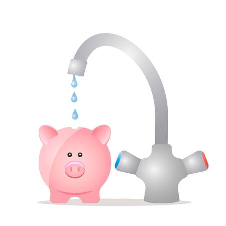 A water faucet punishes drop by drop in a realistic pig piggy bank. The concept of savings, pensions and passive income in cryptocurrency. vector illustration isolated on white background