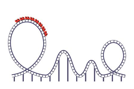 A roller coaster ride in a development park. icon isolated