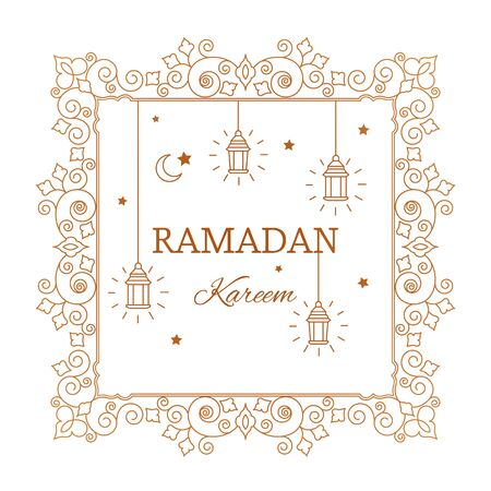 Congratulatory golden banner with the inscription Ramadan Kareem in a linear style with oriental ornaments, lamps, stars and a crescent