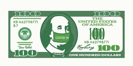 100 dollars us dollar bill. Benjamin Franklin put on a medical mask with the inscription Covid-19 virus. The Chinese Crown Virus affects the global economy of America and the world stock market. Иллюстрация