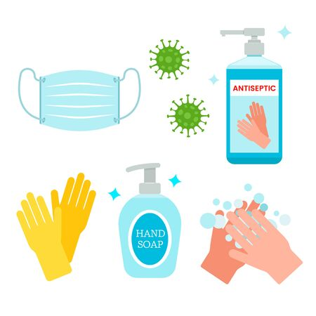 Rules of conduct for the global coronavirus pandemic. use a medical mask, wash hands, treat with an antiseptic. Hygiene with covid -19. vector illustration isolated on white background Illustration