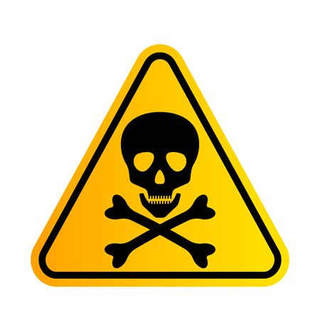 Bones and skull as a sign of toxicity warning. yellow triangle hazard icon.  イラスト・ベクター素材