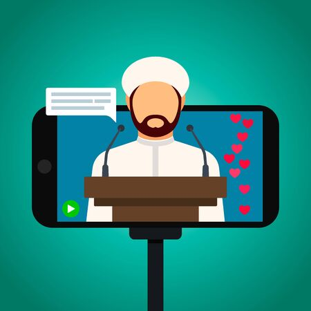 Muslim imam giving a speech in a mosque online. Home worship during quarantine due to the Covid-19 coronavirus. Vector Illustration