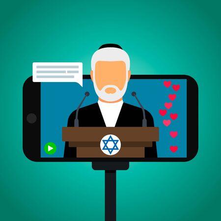 Jewish rabbi holds Saturday Sabbath online. Home synagogue during quarantine due to Covid-19 coronavirus.