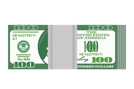 a pack of 100 dollar banknotes from a flight bank. flat vector illustration isolated