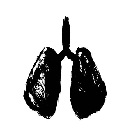 Symbol of affected human lungs Hand drawn grunge design. Lung cancer, asthma, tuberculosis, pneumonia from coronavirus Covid -19. Respiratory system. 矢量图像