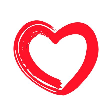 red heart in handmade outline style as a symbol of St. Valentines Day