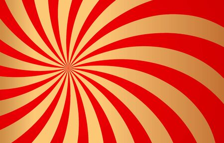 Red and golden rays of vector carnival background. Circus themed sunlight. Holiday abstract retro vector background.