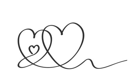 The abstract heart is drawn in one continuous line. Freehand doodle drawing. Love element for greeting cards, print, greetings. flat vector linear illustration on white background