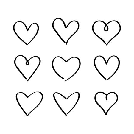 A large set of hand-drawn hand-drawn hearts. sketch of nine hearts for the day of St. Valentine.