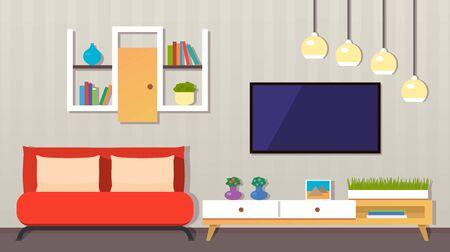 modern living room interior. Furniture, armchair, indoor plants, TV, picture