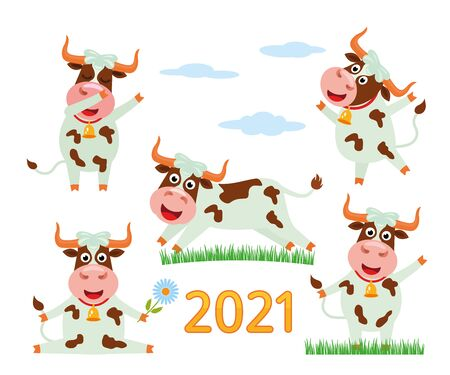 The cheerful character of the bull is a symbol of the Chinese new 2021. A large set of funny ox character with smile and dancing! Vector illustration in cartoon style.  イラスト・ベクター素材