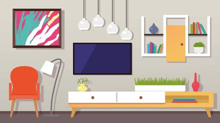 modern living room interior. Furniture, armchair, indoor plants, TV, picture. flat vector illustration