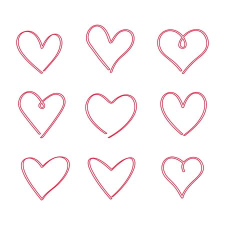 A large set of hand-drawn hand-drawn hearts. sketch of nine hearts for the day of St. Valentine. flat vector illustration isolated on white background