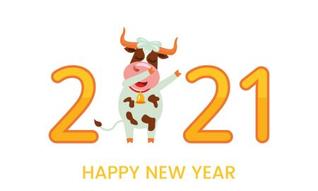 The cheerful character of the bull is a symbol of the new 2021. Holiday card or Happy New Year - ox year! Vector illustration in cartoon style.