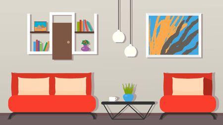 modern living room interior. Furniture, armchair, indoor plants, TV, picture flat vector illustration  イラスト・ベクター素材