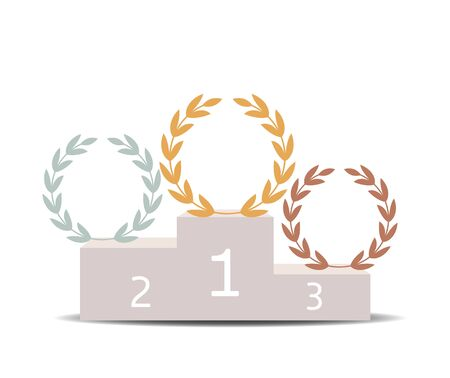 winners podium, gold, silver and bronze laurel wreaths. vector illustration isolated on white background