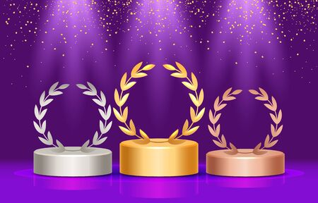 winners podium with laurel wreath. three prizes.vector illustration
