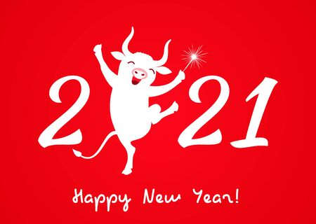 a merry bull with a sparkler dancing with the numbers 2021. Holiday card or congratulation on Chinese New Year. Vector illustration
