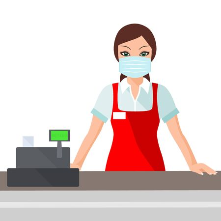 Beautiful young woman cashier with medical mask working in a supermarket. Sanitary compliance during coronavirus quarantine covid-19.vector illustration