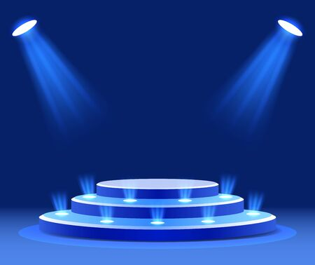 Lighted podium at the award ceremony . spotlight on a blue background. Vector illustration
