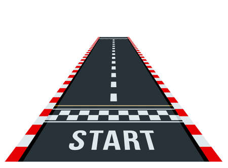 start and finish on the go-kart track. road markings. flat vector illustration. view from above