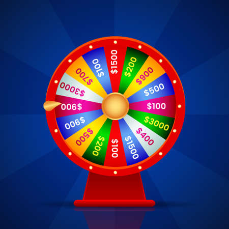 realistic wheel of fortune on blue background with shadow.