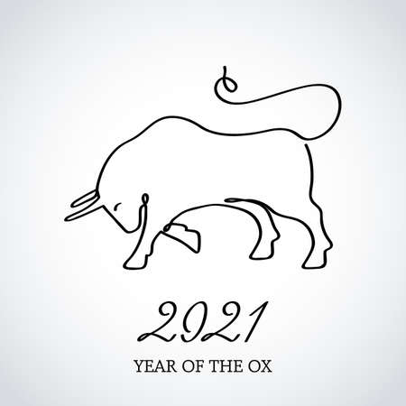 Continuous drawing of the bull symbol of 2021. greeting card drawn in one line.