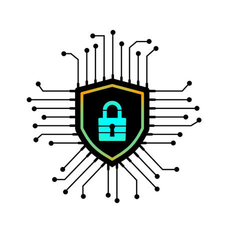 cybersecurity lock cryptocurrency and passwords. vector illustration