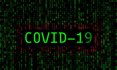 The inscription Covid-19 on the background of green bacteria of the flu of the coronavirus