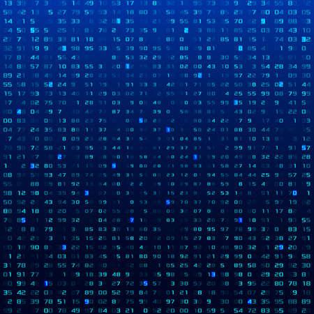 A stream of binary matrix code on the screen. numbers of the computer matrix. Ilustración de vector