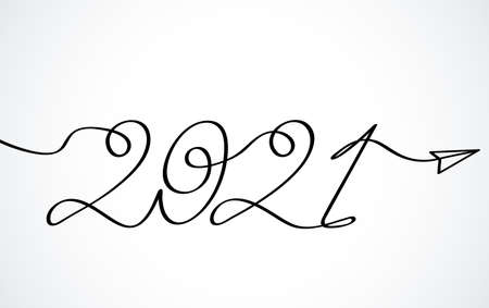 One continuous line drawing 2021. Vector New Year illustration of the bull