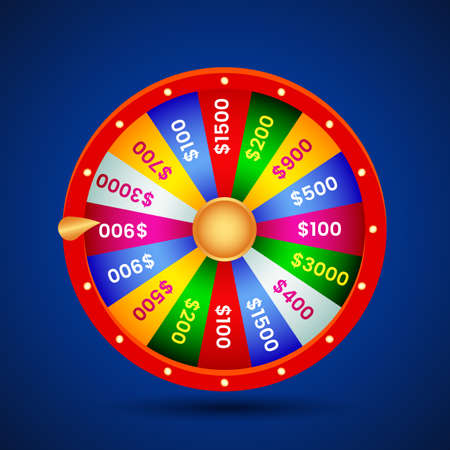realistic wheel of fortune on blue background with shadow. vector illustration