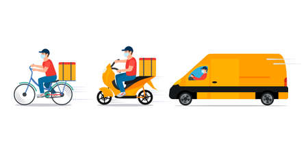 the concept of delivery of goods during quarantine. Service in a medical mask on a truck, bike and moped. vector illustration. Ilustração