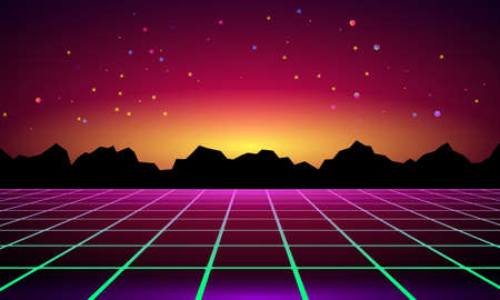 3D illustration. Futuristic perspective grid against cosmic starry sky and sci-fi neon landscape 1980s digital cyber surface style. Ilustração