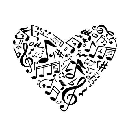 heart with musical notes inside. the concept of love for music. flat vector graphic illustration isolated on white background. black silhouette Ilustração