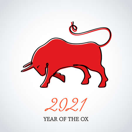 Continuous drawing of a bull as a symbol of 2021. Postcard in one line. holiday element for print, calendars. vector illustration. Chinese New Year